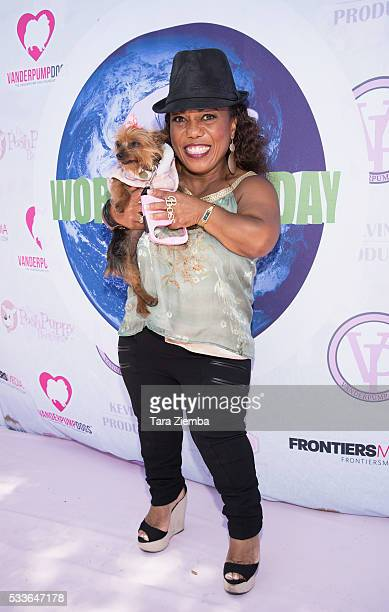 TV personality Christy Gibel attends World Dog Day Celebration at The City of West Hollywood Park on May 22 2016 in West Hollywood California