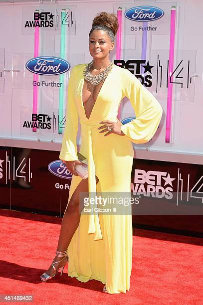 TV personality Claudia Jordan attends the BET AWARDS '14 at Nokia Theatre LA LIVE on June 29 2014 in Los Angeles California