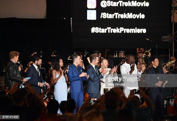 TV personality Conan O'Brien and actors Karl Urban Zoe Saldana Zachary Quinto Chris Pine Simon Pegg Idris Elba and John Cho speak onstage at the...