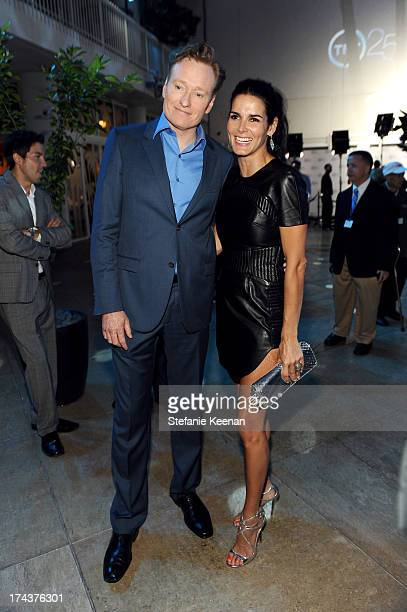 TV personality Conan O'Brien and actress Angie Harmon attend TNT 25TH Anniversary Party during Turner Broadcasting's 2013 TCA Summer Tour at The...