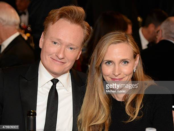 TV personality Conan O'Brien and Liza Powel attend the 43rd AFI Life Achievement Award Gala honoring Steve Martin at Dolby Theatre on June 4 2015 in...