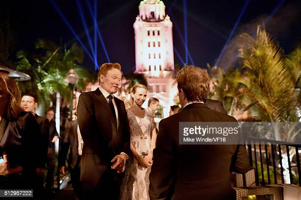 TV personality Conan O'Brien and Liza Powel O'Brien attend the 2016 Vanity Fair Oscar Party Hosted By Graydon Carter at the Wallis Annenberg Center...