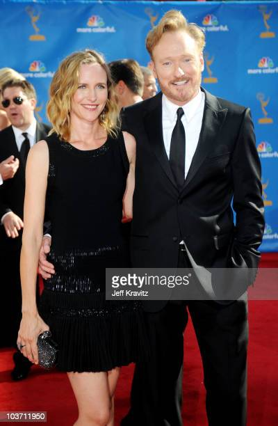 TV personality Conan O'Brien and wife Liza Powell O'Brien arrive at the 62nd Annual Primetime Emmy Awards held at the Nokia Theatre LA Live on August...