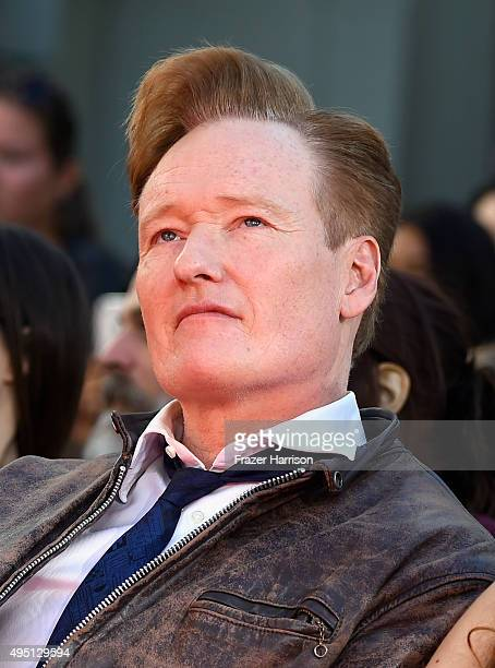 TV personality Conan O'Brien attends Lionsgate's The Hunger Games Mockingjay Part 2 Hand and Footprint Ceremony at TCL Chinese Theatre on October 31...