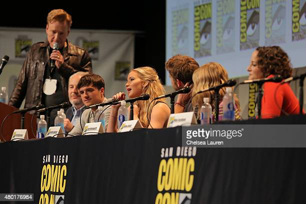 TV personality Conan O'Brien director Francis Lawrence actors Josh Hutcherson Jennifer Lawrence Liam Hemsworth Willow Shields and producer Nina...