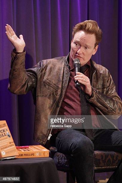 TV personality Conan O'Brien speaks onstage at Sam Phillips The Man Who Invented Rock n Roll A Conversation with Peter Guralnick Conan O'Brien at The...