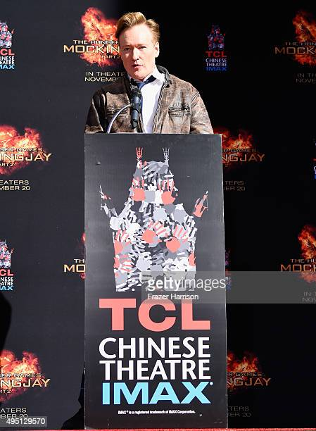 TV personality Conan O'Brien speaks onstage during Lionsgate's The Hunger Games Mockingjay Part 2 Hand and Footprint Ceremony at TCL Chinese Theatre...