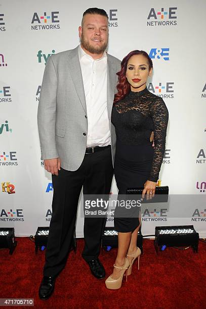 TV personality Corey Harrison and guest attend 2015 AE Networks Upfront on April 30 2015 in New York City
