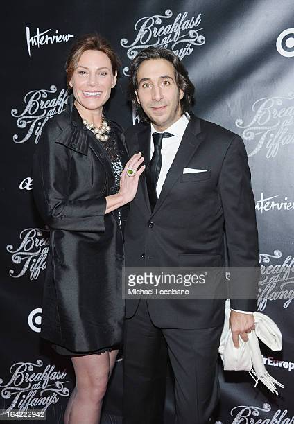 TV personality Countess LuAnn de Lesseps and boyfriend Jacques Azoulay attend the 'Breakfast At Tiffany's' Broadway Opening Night at Cort Theatre on...
