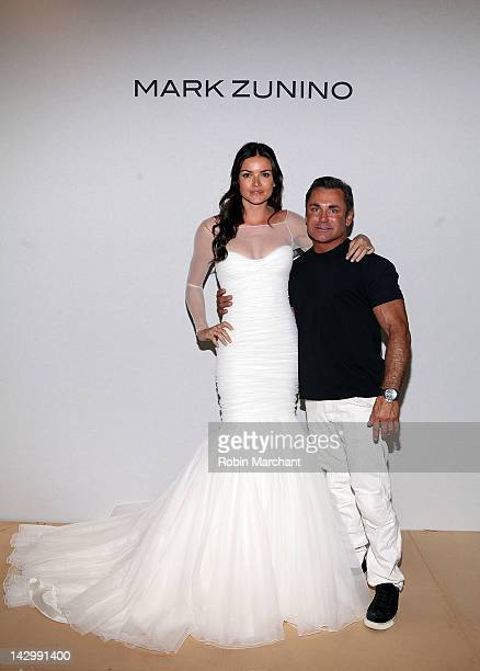 Personality Courtney Robertson and Designer Mark Zunino attend Mark Zunino Bridal Show at Kleinfeld on April 16, 2012 in New York City.