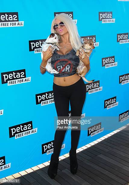 Personality Courtney Stodden attends Peta2's 2nd annual 'Blankets For Shelters' drive at The Bob Barker Building on April 11 2014 in Los Angeles...