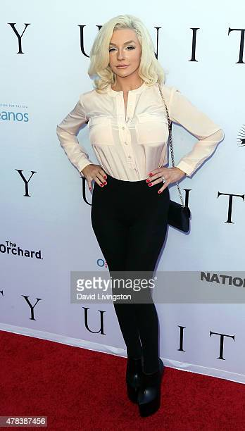 TV personality Courtney Stodden attends the world premiere screening of the documentary Unity at the DGA Theater on June 24 2015 in Los Angeles...
