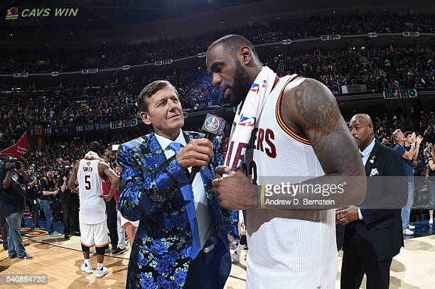 TV personality Craig Sager interviews LeBron James of the Cleveland Cavaliers after the Cavaliers defeated the Golden State Warriors in Game Six of...