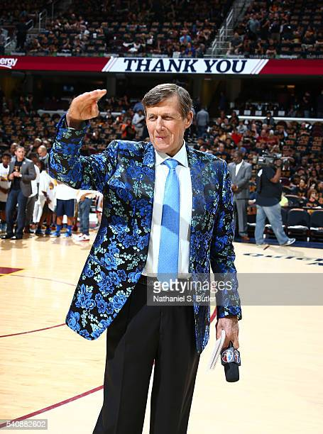 Personality Craig Sager is seen during the game between the Cleveland Cavaliers and the Golden State Warriors in Game Six of the 2016 NBA Finals on...