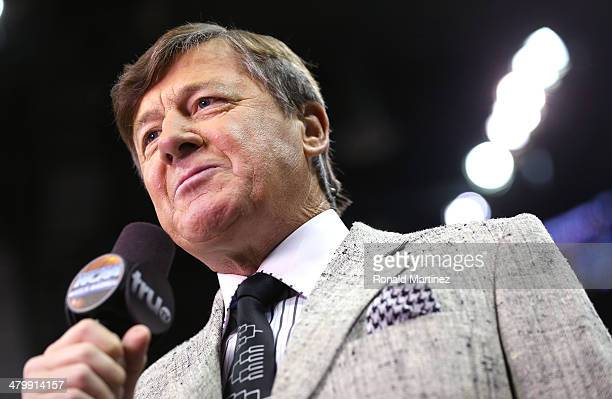 TV personality Craig Sager speaks on the court in the first half between the Nebraska Cornhuskers and the Baylor Bears during the second round of the...