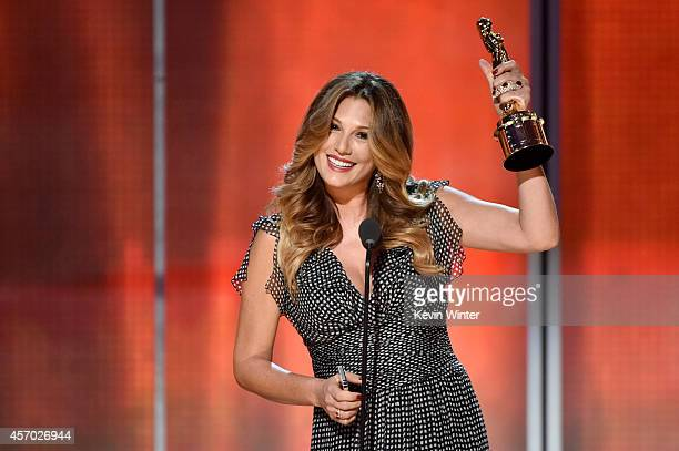 TV personality Daisy Fuentes recipient of the NCLR ALMA Vanguard Award speaks onstage during the 2014 NCLR ALMA Awards at the Pasadena Civic...