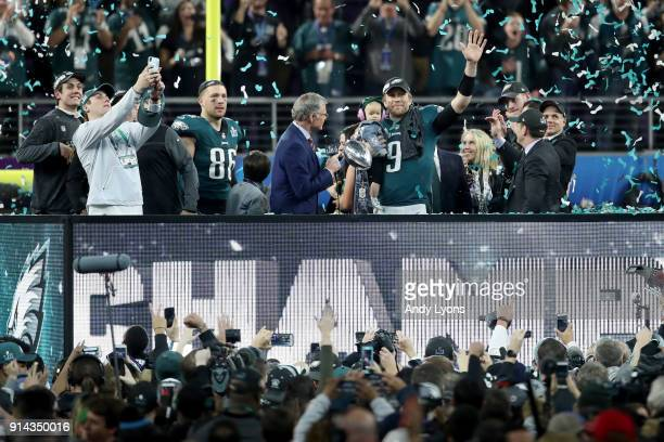 NBC personality Dan Patrick interviews Nick Foles of the Philadelphia Eagles as he is named Super Bowl MVP after they defeated the New England...