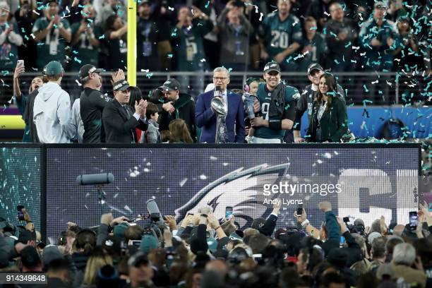 NBC personality Dan Patrick interviews Nick Foles of the Philadelphia Eagles after they defeated the New England Patriots 4133 in Super Bowl LII at...