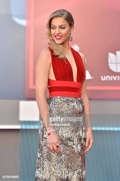 TV personality Daniela Di Giacomo poses for selfies with fans at The 17th Annual Latin Grammy Awards at TMobile Arena on November 17 2016 in Las...