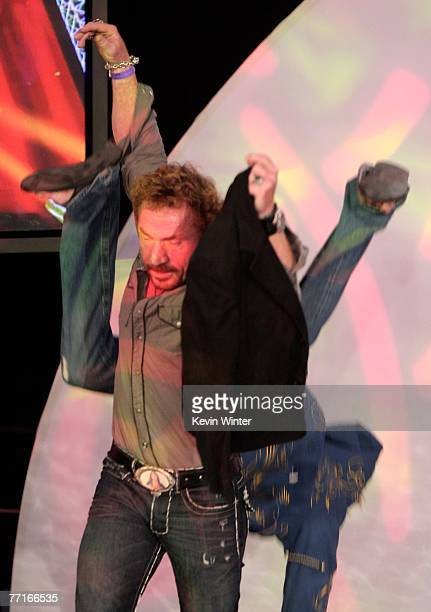 TV personality Danny Bonaduce flips tv personality Jonny Fairplay onstage during the 2007 Fox Reality Channel Really Awards held at Boulevard 3 on...