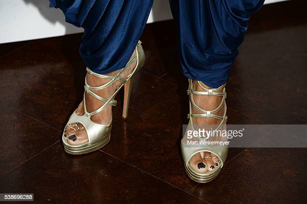 TV personality Daphne Wayans shoes detail attends the LA launch party for Prince's PETA Song at PETA on June 7 2016 in Los Angeles California