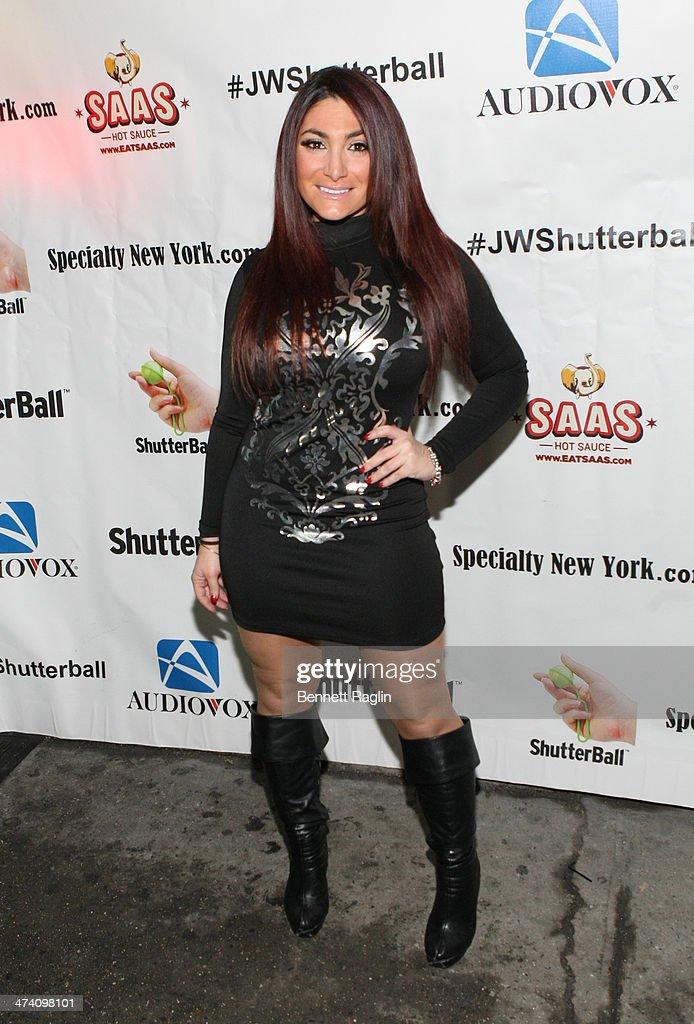 TV personality Deena Cortese attends Jenni 'JWOWW' Farley's Birthday Celebration at Drunken Monkey on February 21, 2014 in the Staten Island borough of New York City.