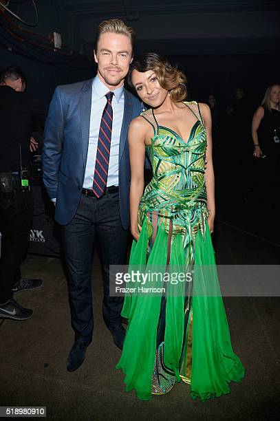 TV personality Derek Hough and actress Kat Graham backstage at the iHeartRadio Music Awards which broadcasted live on TBS TNT AND TRUTV from The...