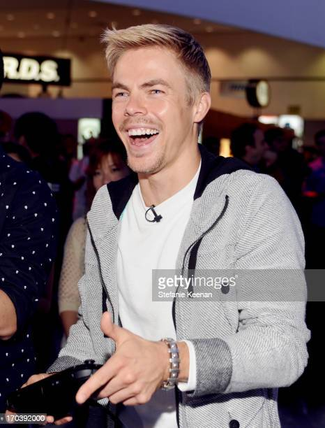 TV personality Derek Hough attends Nintendo's booth to sample games for Wii U and Nintendo 3DS at the 2013 E3 Gaming Convention at Los Angeles...