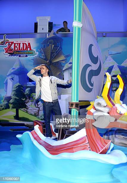 Personality Derek Hough visits the world of Zelda available for Wii U in October while attending Nintendo's booth at the 2013 E3 Gaming Convention at...