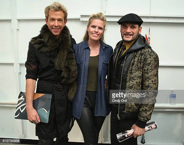 TV Personality Derek Warburton designer Georgine Ratelband and TV personality Phillip Bloch pose at the Georgine Fall 2016 fashion show during New...