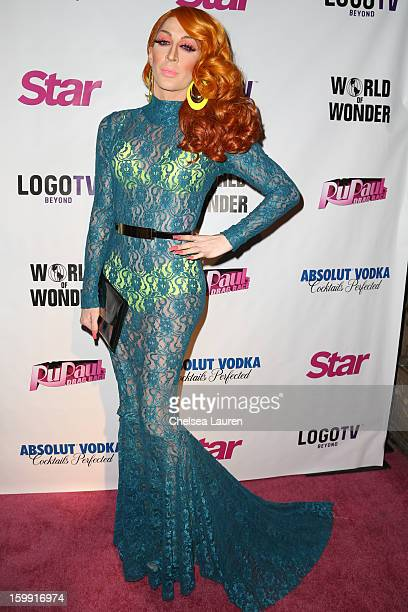 TV personality Detox Icunt arrives at RuPaul's Drag Race season 5 premiere party at The Abbey on January 22 2013 in West Hollywood California