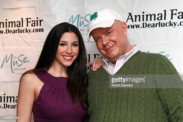 TV personality Diana Falzone and Jimmy Floyd attend St Pawtricks Yappy Hour benefiting the Humane Society of New York at the Muse Hotel on March 16...