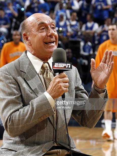 Personality Dick Vitale covers the game between the Tennessee Volunteers and the Memphis Tigers at FedExForum on February 23, 2008 in Memphis,...