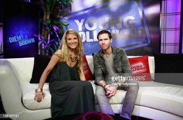 TV personality Diem Brown and host Oliver Trevena at the Young Hollywood Studio on February 2 2012 in Los Angeles California