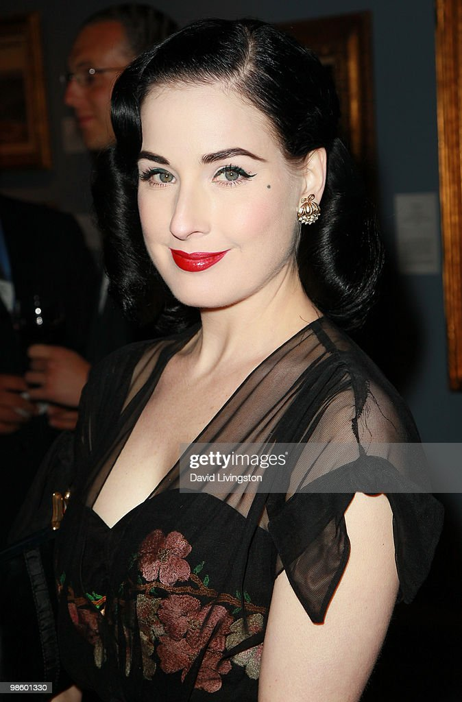 TV personality Dita Von Teese attends the 15th Annual Los Angeles Antique Show Opening Night Preview Party benefiting P.S. ARTS at Barker Hanger on April 21, 2010 in Santa Monica, California.