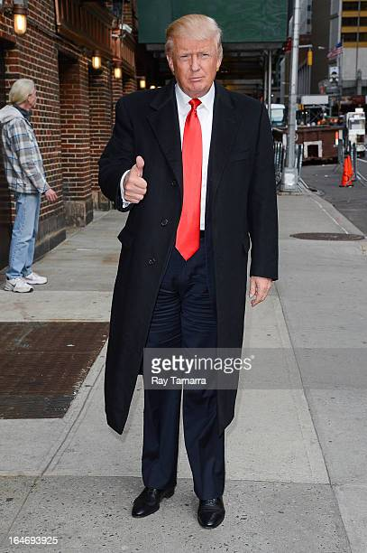 TV personality Donald Trump enters the Late Show With David Letterman taping at the Ed Sullivan Theater on March 26 2013 in New York City