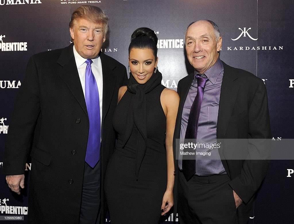 TV personality Donald Trump, Kim Kardashian and Perfumania Chairman of the Board Stephen Nussdorf attend the celebration of Perfumania and Kim Kardashian's appearance on NBC's 'The Apprentice' at the Provocateur at The Hotel Gansevoort on November 10, 2010 in New York, New York.