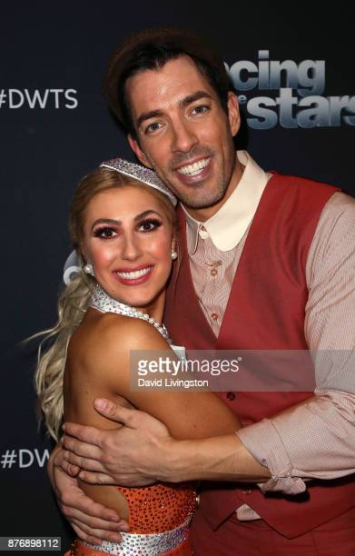 TV personality Drew Scott and dancer Emma Slater pose at 'Dancing with the Stars' season 25 at CBS Televison City on November 20 2017 in Los Angeles...