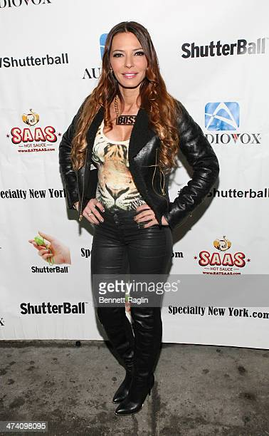 TV personality Drita Davanzo attends Jenni JWOWW Farley's Birthday Celebration at Drunken Monkey on February 21 2014 in the Staten Island borough of...