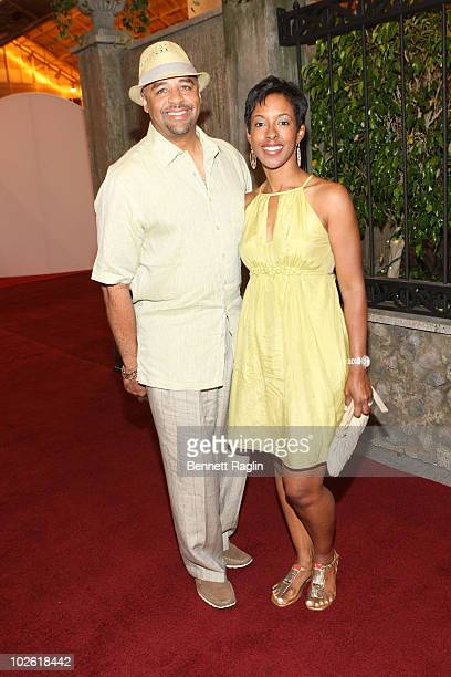 TV personality Ed Gordon and wife Leslie Gordon attend the 2010 Essence Music Festival at the Convention Center on July 2 2010 in New Orleans...
