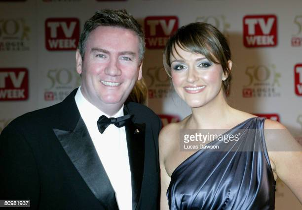 TV personality Eddie McGuire and his wife Carla McGuire arrive on the red carpet at the 50th Annual TV Week Logie Awards at the Crown Towers Hotel...