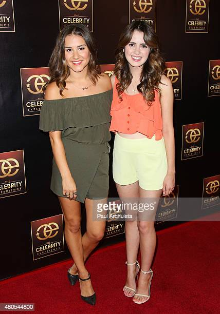 Personality Electra Formosa and Actress Laura Marano attend 'The Celebrity Experience' panel at The Universal Hilton Hotel on July 12 2015 in...