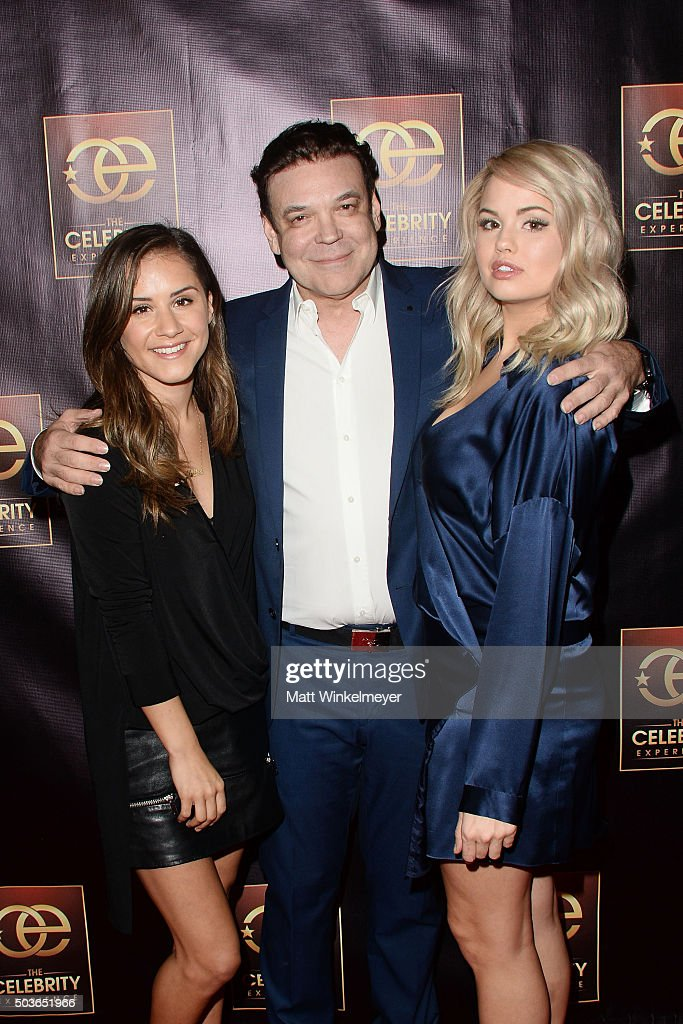 TV Personality Electra Formosa, producer George Caceres, and actress Debby Ryan arrive at The Celebrity Experience with Debby Ryan at Hilton Universal Hotel on January 6, 2016 in Los Angeles, California.