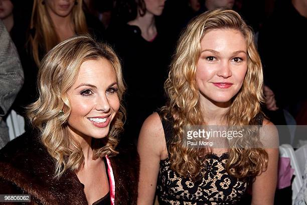 Personality Elisabeth Hasselbeck and actress Julia Stiles attend Milly By Michelle Smith Fall 2010 during MercedesBenz Fashion Week at Bryant Park on...