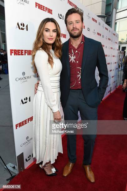 TV personality Elizabeth Chambers and actor Armie Hammer attend The Los Angeles Premiere Of 'Free Fire' Presented By Casa Noble Tequila on April 13...