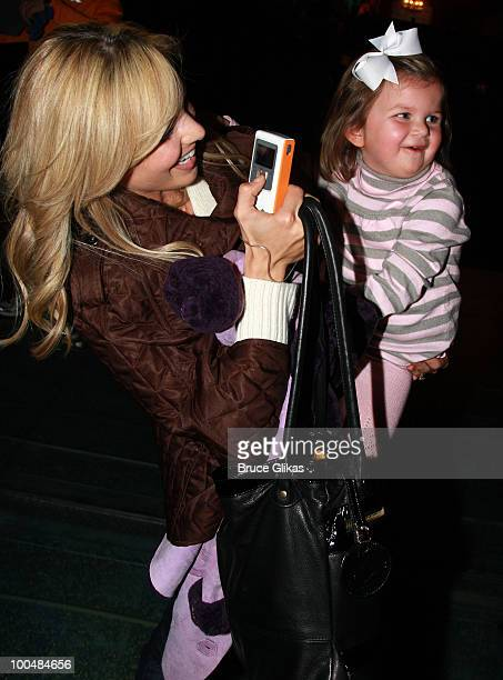Personality Elizabeth Hasselback and daughter Grace Hasselback pose as they visit backstage at The Little Mermaid on Broadway at The Lunt Fontanne...
