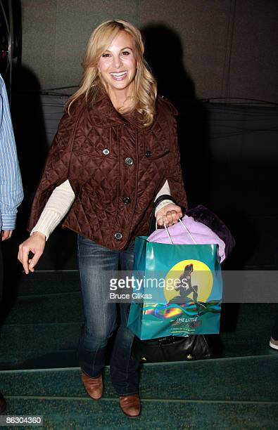 Personality Elizabeth Hasselback and daughter Grace Hasselback poses as she visits backstage at The Little Mermaid on Broadway at The Lunt Fontanne...