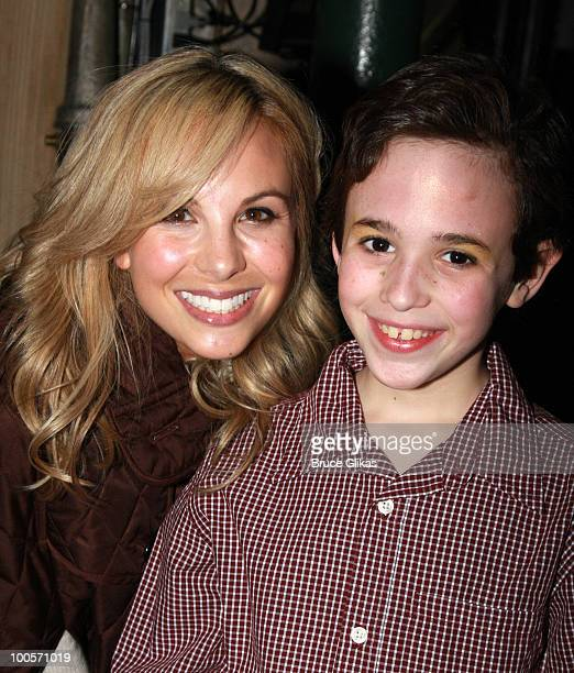 Personality Elizabeth Hasselback's daughter Grace Hasselback and Actor Trevor Braun pose backstage at The Little Mermaid on Broadway at The Lunt...