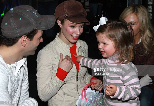 Personality Elizabeth Hasselback's daughter Grace Hasselback and Actors Sean Palmer and Sierra Boggess pose as they visit backstage at The Little...