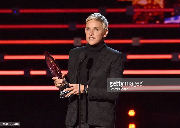 TV personality Ellen DeGeneres accepts the award for Favorite Humanitarian onstage during the People's Choice Awards 2016 at Microsoft Theater on...